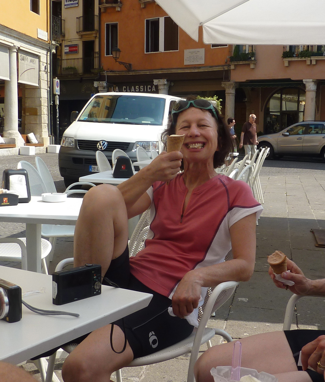 enjoying gelato bike tour umbria