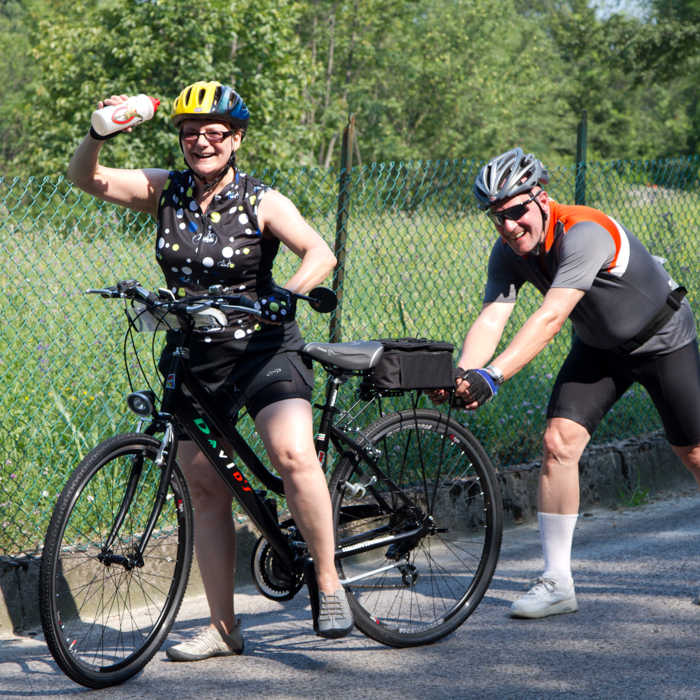 guests on cycling tour