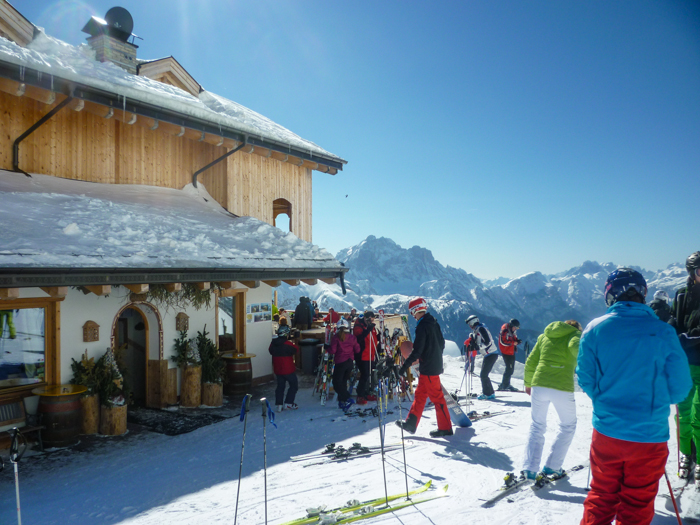 rifugio on ski tour dolomites