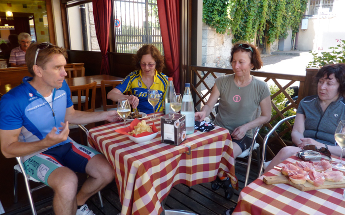food and wine on bike tour